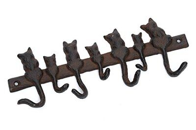 Cast Iron Cat Tails Key Towel Rack - Vintage Rustic Design - Hooks Hanger