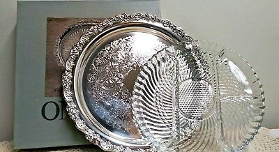 "Oneida Siversmiths Du Maurier silver plate Relish Dish glass Liner 12 1/2"" U.S.A"