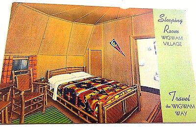 🌜wigwam Motel Hotel Bed Room  Vintage 1930 Advertising Card Kentucky Hickory