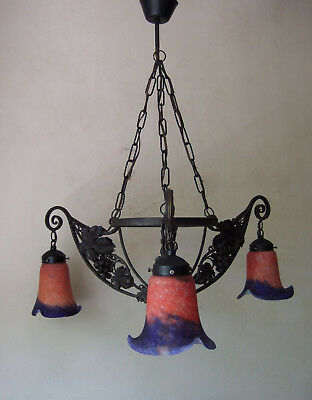 Classic Antique  French Art Deco Forged Iron  Three  Branch Chandelier