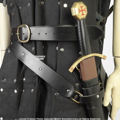 Medieval Double Wrap Genuine Black Leather Sword Belt w/Frog LARP Cosplay SCA