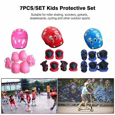 7PCS/SET Kids Protective Gear Set Scooter Skate Roller Cycling Knee Elbow Pads Q