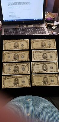 1934 Silver Certificate & 1953  Seal Notes - 5 Dollar