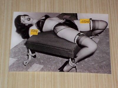 Bettie Page 5x7 Photograph In Lingerie Tied to Ottoman Bondage Print Photo