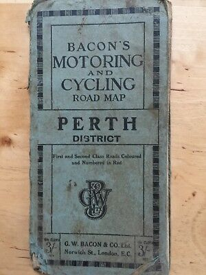 VINTAGE old cloth Bacons Motoring and Cycling road MAP Stirling Perth District