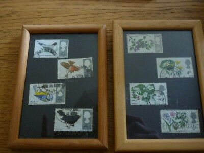 Genuine old British postage stamps birds and flowers framed pictures