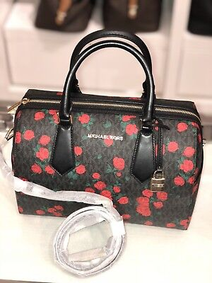 4d6531c4dac361 Michael Kors Hayes Large MK Duffle Crossbody Black Red Floral Satchel Bag  Aria