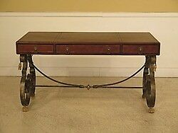 L28869: Iron Base Writing Desk w. Wrapped Tooled Leather Top