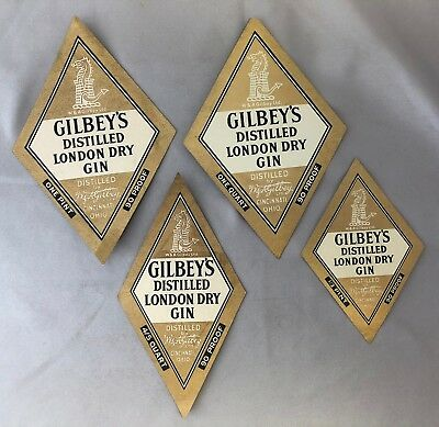 4 Different 1940s GILBEY's London Dry GIN double-sided Bottle LABEL Vintage