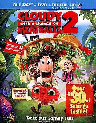 CLOUDY WITH A CHANCE OF MEATBALLS 2 (Blu-ray/DVD, 2014, 2-Disc Set) New / Sealed