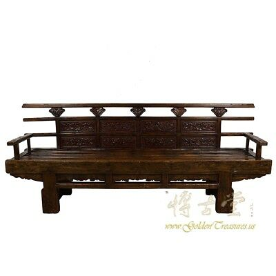 Antique Chinese Massive Carved Long Bench