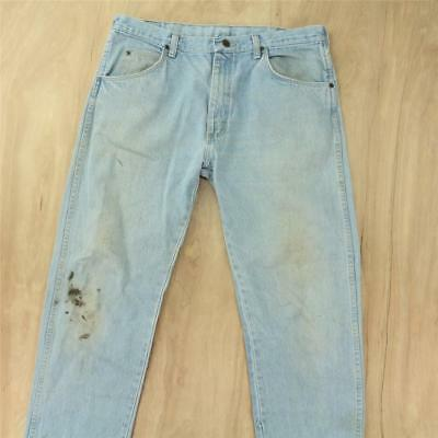 vtg usa made WRANGLER 965 jeans 36 x 30 tag faded & distressed light wash