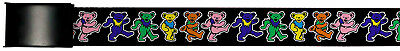Grateful Dead Psychedelic Rock Band Rainbow Dancing Bears Web Belt Chrome