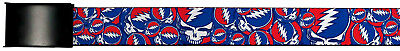 Grateful Dead Psychedelic Rock Band Red White Blue Collage Web Belt Chrome