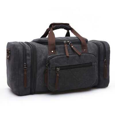 9b5f47395c8b Expandable Canvas Holdall Overnight Bag Travel Vintage Gym Weekend Duffle  New
