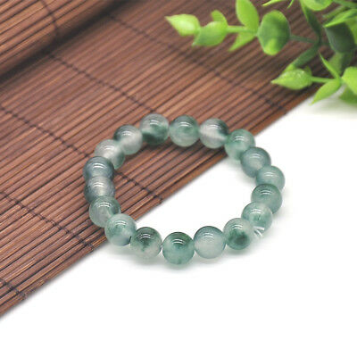 100% Natural A Grade Green Jade Jadeite Round Gemstone Beads Bracelet 7.5'' 10mm