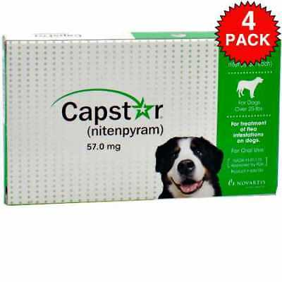 4 PACK CAPSTAR Green for Dogs over 25 lbs 24 tablets