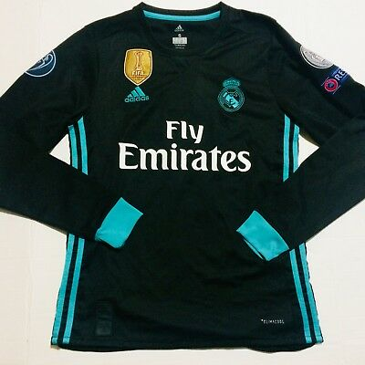 0656547a UCL 2017 Real Madrid Away Black Soccer Jersey Long Sleeve Ronaldo 7 Adult  Large