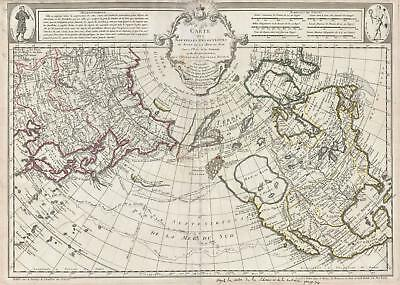 1752 De L' Isle Map Of Nordamerika,The Arctic, und Siberia (Sea Of The West)