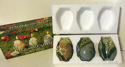 NIB Fitz & Floyd 2001 Boxed Set of 3 Elegant Eggs Candles w/3D Flowers