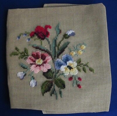 """BUCILLA HAND FINISHED FLORAL WOOL NEEDLEPOINT 23"""" ANTIQUE CANVAS Made in Japan"""