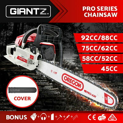 GIANTZ Petrol Chainsaw Commercial Chain Saw Bar E-Start 92/88/75/62/58/52/45CC