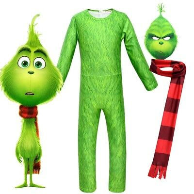 Kids Boys The Grinch Cosplay Costume Party Fancy Dress Jumpsuit Romper AU