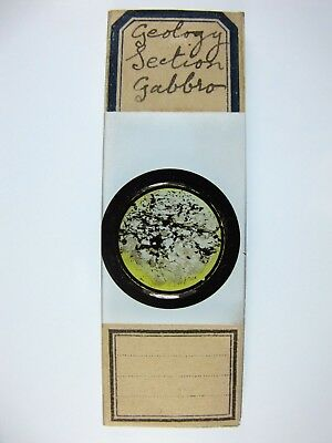 Antique Microscope Slide. Geology. Section of Gabbro.
