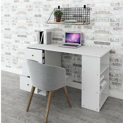 Small White Wooden Desk PC Laptop Writing Table 3 Drawer Workstation 3 Shelves