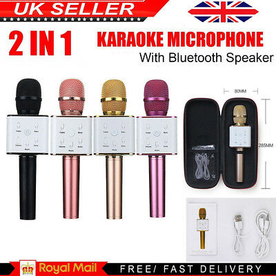 New Karaoke Q7 Wireless Bluetooth Microphone Speaker Handheld MIC USB Player KTV