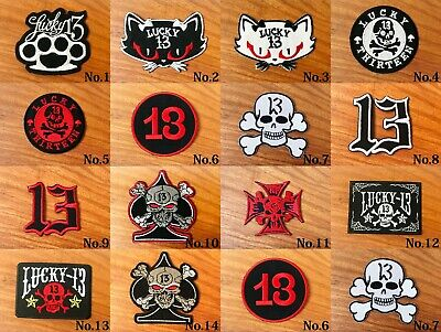 13 Lucky Number Logo Motorcycle Biker DIY Sew Iron On Embroidered Patch Applique