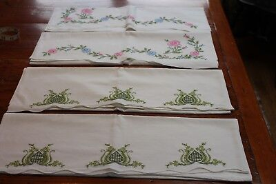 Vintage 2 Pair Hand Embroidered Cotton Pillowcases 21x30 Pink Posies & Green