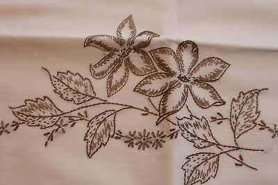 Vintage Pair Hand Embroidered Cotton Pillowcases 19x32 Bronze Daisies & Leaves