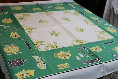 Vintage Cotton Tablecloth Kitchen items & Ivy w Green 46x48
