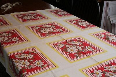 Vintage Fab Cotton Kitchen Tablecloth 52x62 Daisies on Red w Yellow