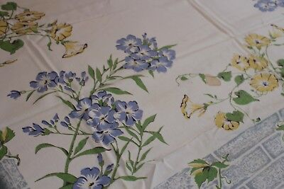 Vintage Fab Cotton Kitchen Tablecloth 54x60 Morning Glories & Violets