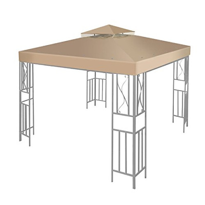 Flexzion 10'x10' Gazebo Replacement Canopy Top Cover Beige - Dual Tier with Edge