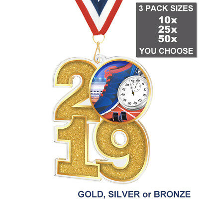 2019 RUNNING ATHLETICS LARGE 70mm ACRYLIC MEDAL & RIBBON, PACK OF 10 (25 or 50)