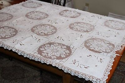 Vintage Linen & Lace Army Navy Tablecloth 44x44 Snowy White