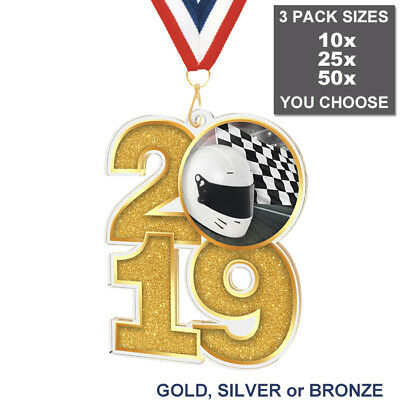 2019 MOTOR RACING KART LARGE 70mm ACRYLIC MEDAL & RIBBON, PACK OF 10 (25 or 50)