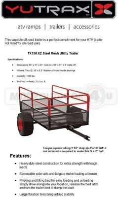 TX158 YUTRAX WARRIOR OFF ROAD ATV Trails Yard Wood Hauler Utility Trailer Tow