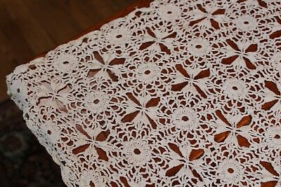 Vintage Off White Hand Crocheted Tablecloth 32x48