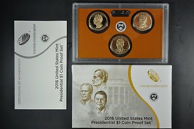 2016 S U.S. Mint President 3 coin Proof set with original mint packaging and COA