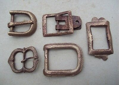 Lot of Five Brass Buckles 1500's/1800's Metal Detecting Finds