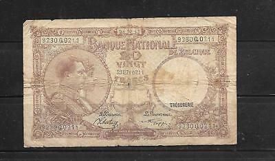 Belgium #111 1941 Good Circulated 20 Franc Old Banknote Paper Money  Bill Note