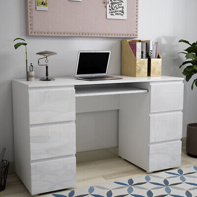 White High Gloss Front Drawers Computer Pc Laptop Home Study