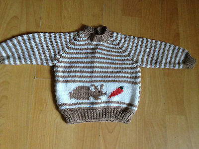 """Fab NEW Brown Striped Hand Knitted Baby Jumper Rabbit & Carrot Design 18"""" 0-6 m"""
