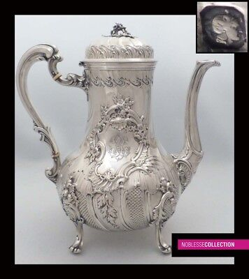 AMAZING ANTIQUE 1880s FRENCH FULL STERLING SILVER COFFEE/TEA POT Rococo st. 752g