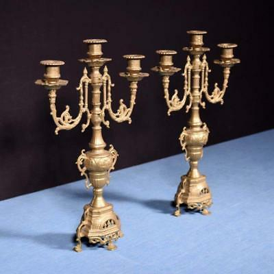 "*16"" Tall Pair of Vintage French Bronze Candelabra Candlesticks"