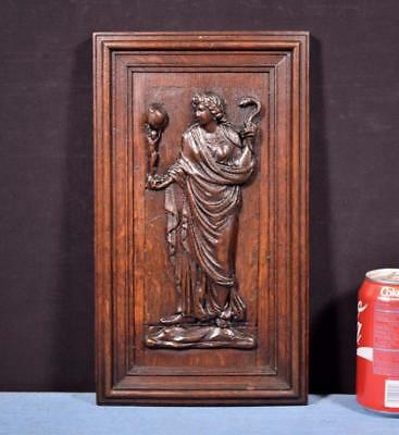 *French Antique Deep Carved Architectural Panel Door Solid Oak Wood Woman